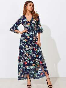 Botanical Print Trumpet Sleeve Frilled Wrap Dress