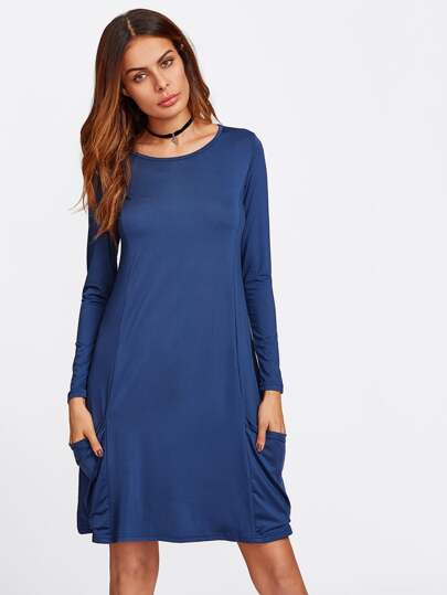 Drape Pocket Detail Princess Seam Tee Dress