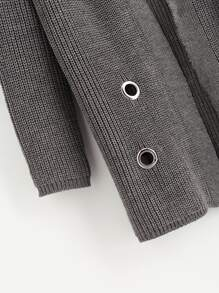 Grommet And O-Ring Detail Sweater Coat pictures