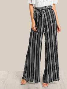 Striped Lightweight Pants BLACK WHITE