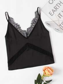Eyelash Lace Insert Cami Top