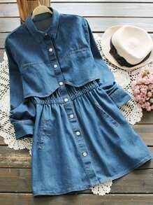 فستان قميص جينز مرونة الخصر