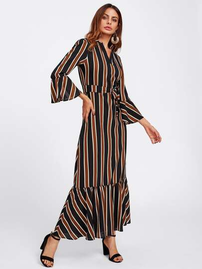 Block Striped Tie Waist Fluted Sleeve Dress
