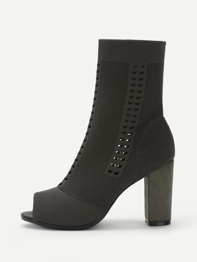 Cut Out Detail Peep Toe Block Heeled Boots
