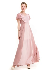 Two Tone Frill Sleeve Chiffon Flowy Dress