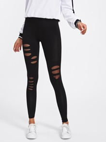 Ripped Front Fishnet Insert Leggings