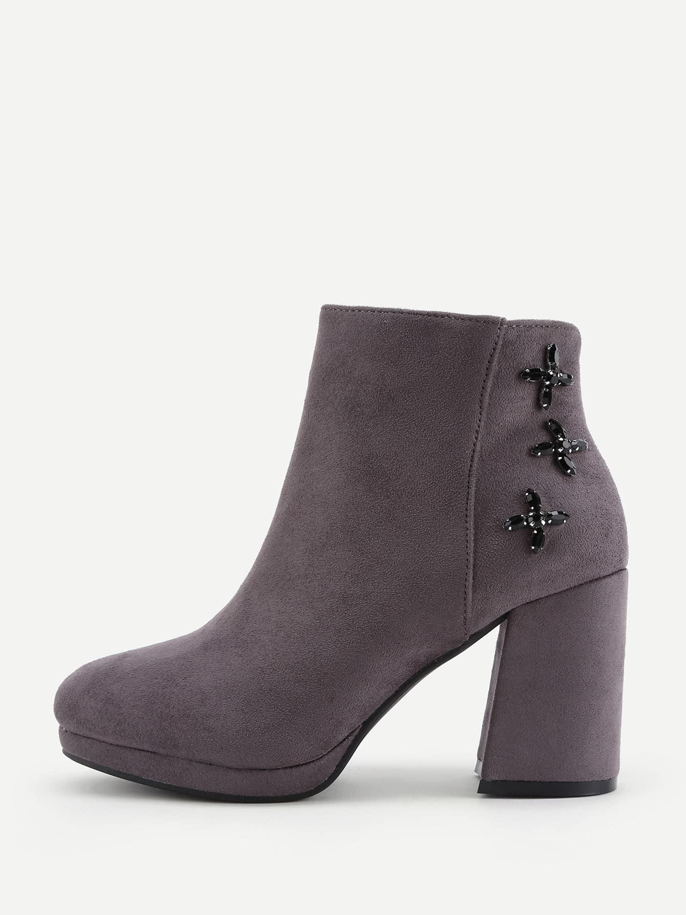 Rhinestone Flower High Heeled Ankle Boots