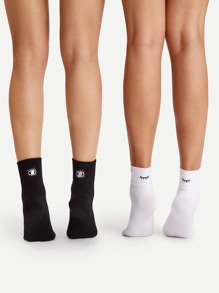 Eye Embroidered Ankle Socks 2pairs