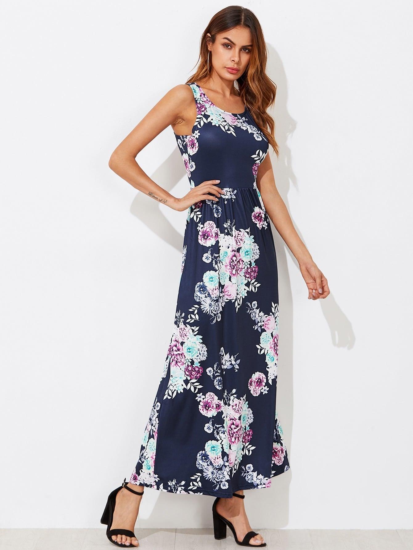 цена Flower Print Pocket Side High Waist Tank Dress
