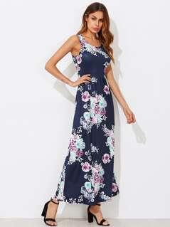 Flower Print Pocket Side High Waist Tank Dress