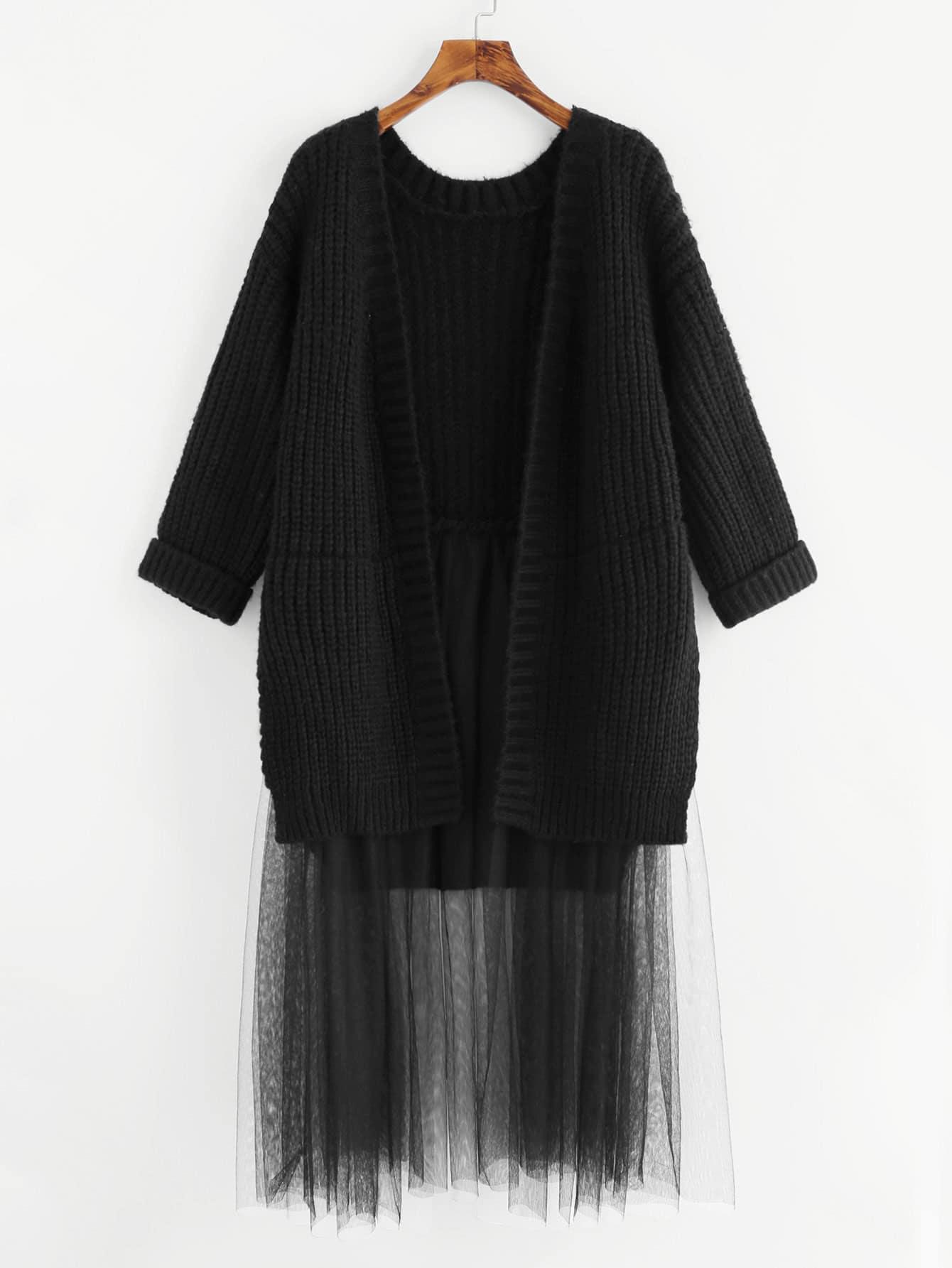Contrast Mesh Hem Longline Cardigan contrast mesh hem check plaid dress