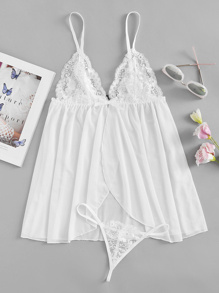 Contrast Lace Slip Dress With T-Back Thong