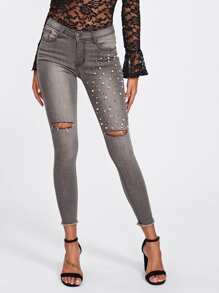 Faux Pearl Beaded Ripped Raw Hem Jeans