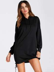 Drop Shoulder Drawstring Hem Hoodie Dress
