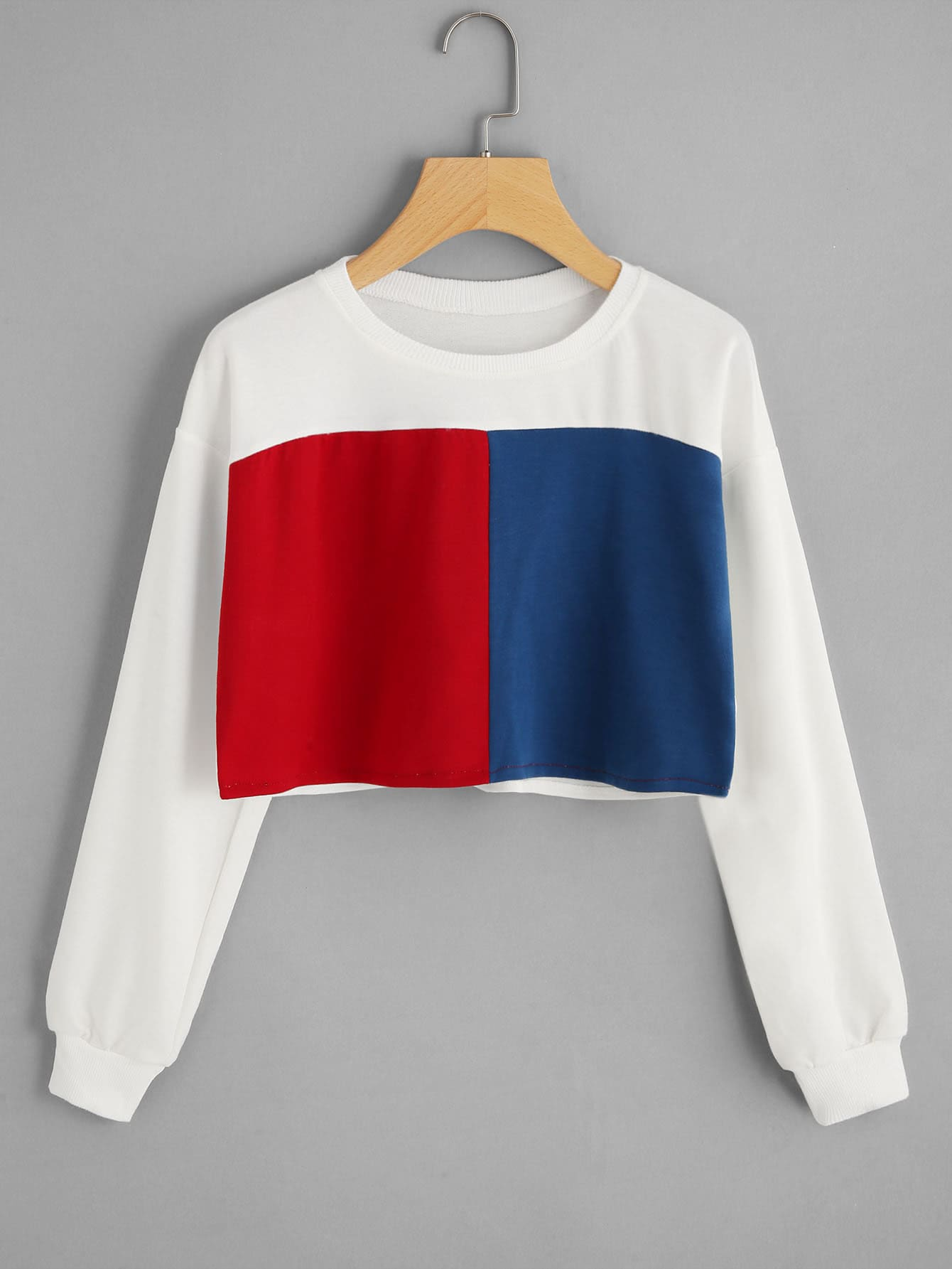 Cut And Sew Panel Crop Sweatshirt cut and sew panel crop sweatshirt