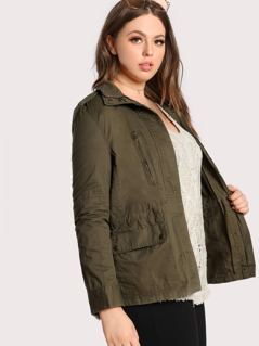 Stitched Zip Up Snap Button Jacket OLIVE