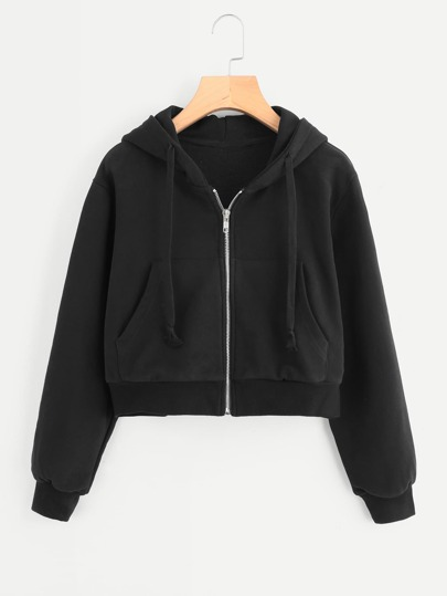 Ribbed Trim Crop Hooded Jacket