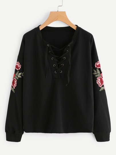 V-neckline Lace Up Embroidered Appliques Pullover
