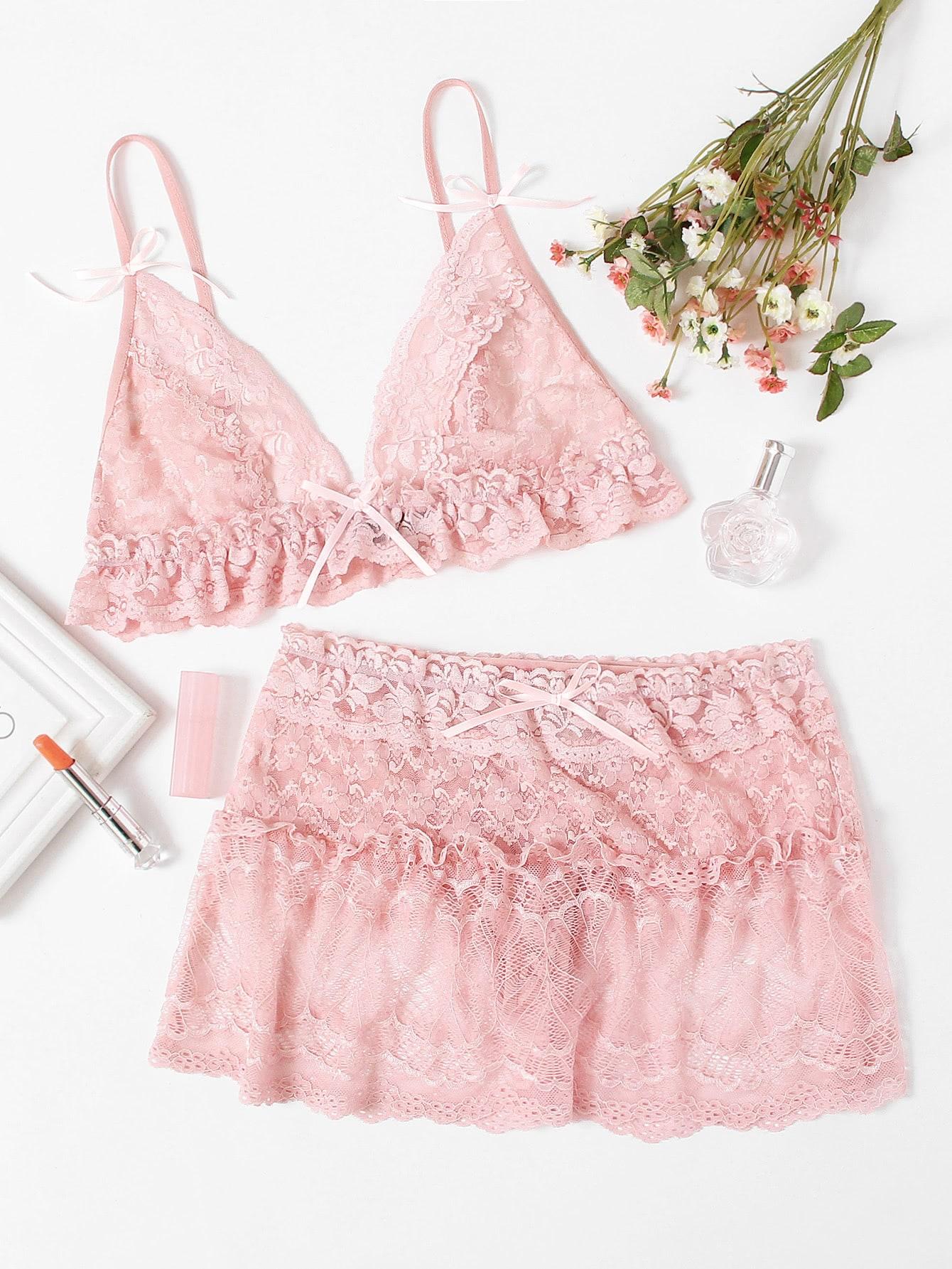 Bow Frill Hem Lace Bra & Shorts Pajama Set high low top and frill hem shorts pajama set