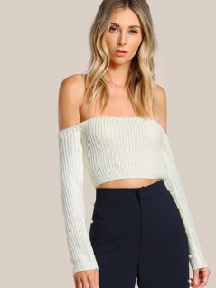 Bardot Sleeve Knitted Crop Top OFF WHITE