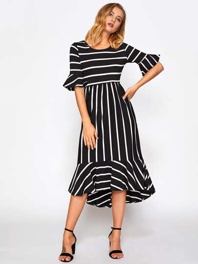 Fluted Sleeve Frill Hem Striped Dress