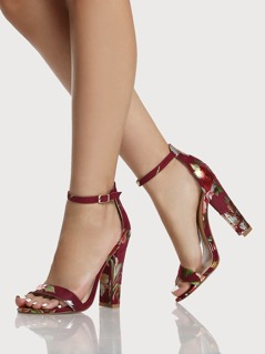 Floral Print Single Band Ankle Strap Heels WINE