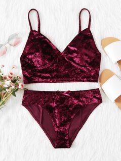 Crushed Velvet Bralette & Pantie Lingerie Set