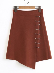 Pin Detail Asymmetrical Knit Skirt
