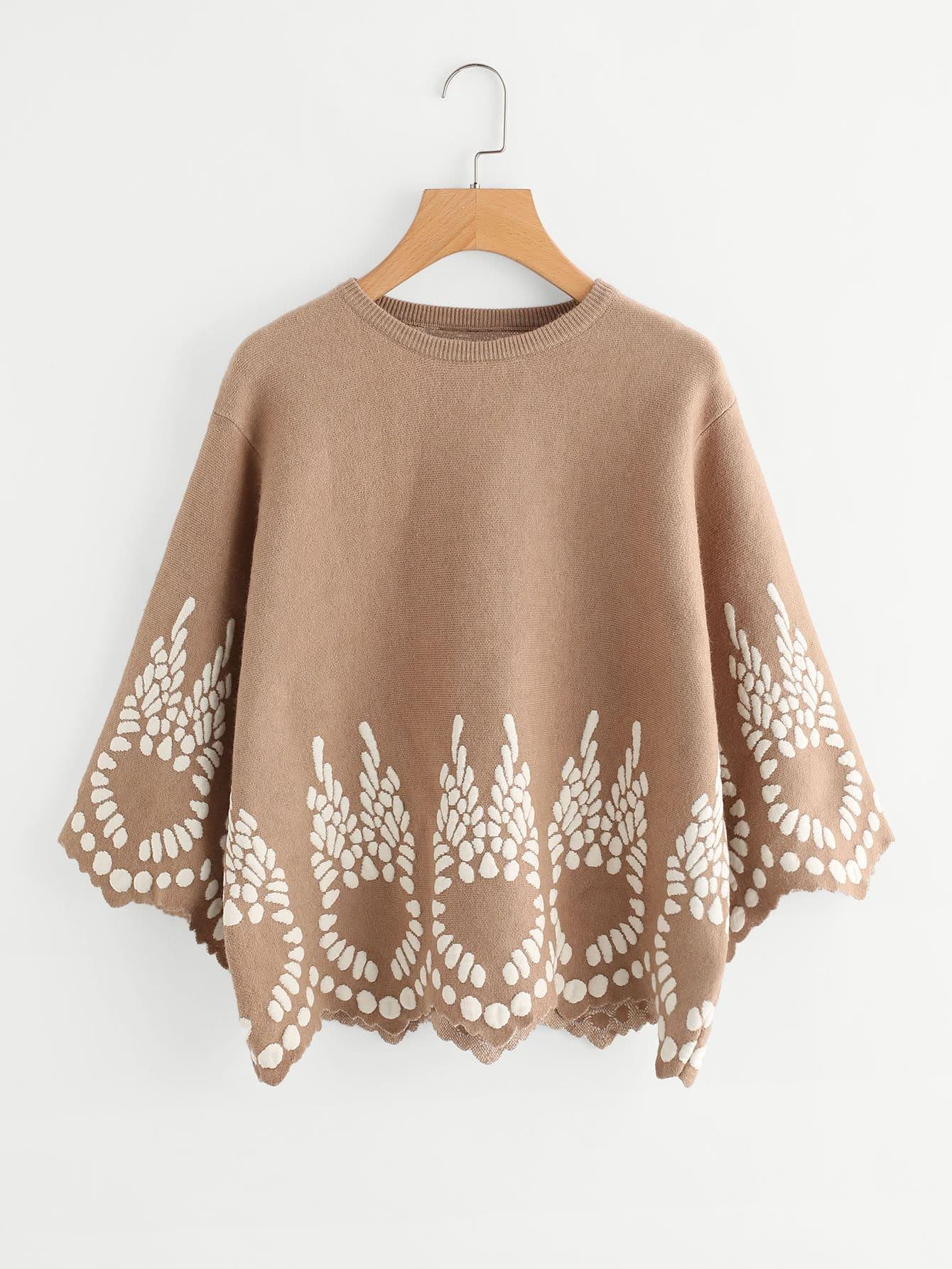 Printed Scalloped Hem Batwing Sweater