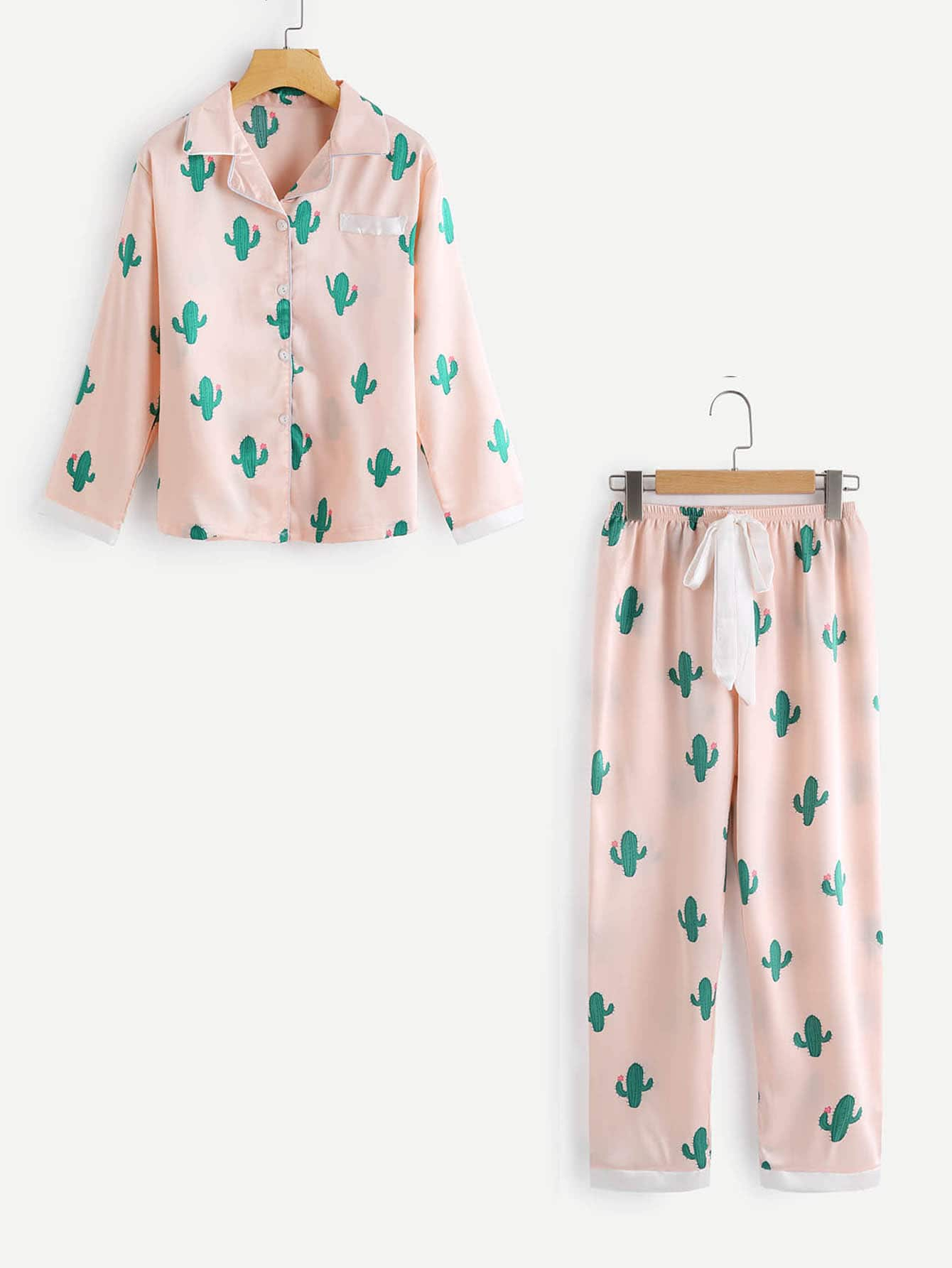 Cactus Print Top And Drawstring Waist Pants