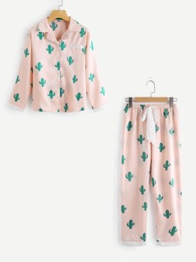 Cactus Print Top And Drawstring Waist Pants