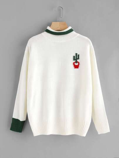 High Neck Cactus Embroidered Sweater