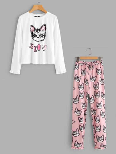 Cats Print Frill Cuff Top And Pants Pajama Set