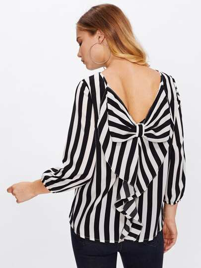 Flounce Bow Back Striped Blouse