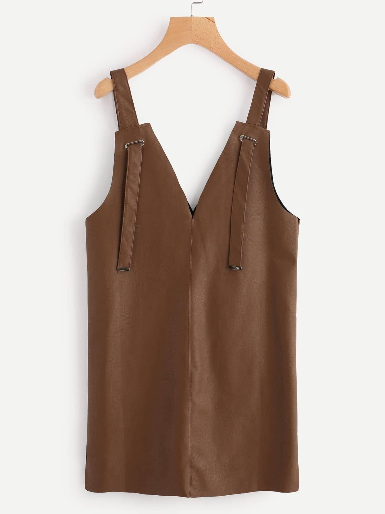 Deep V Neck Strap Detail Split Side Pinafore Dress rdre170920020