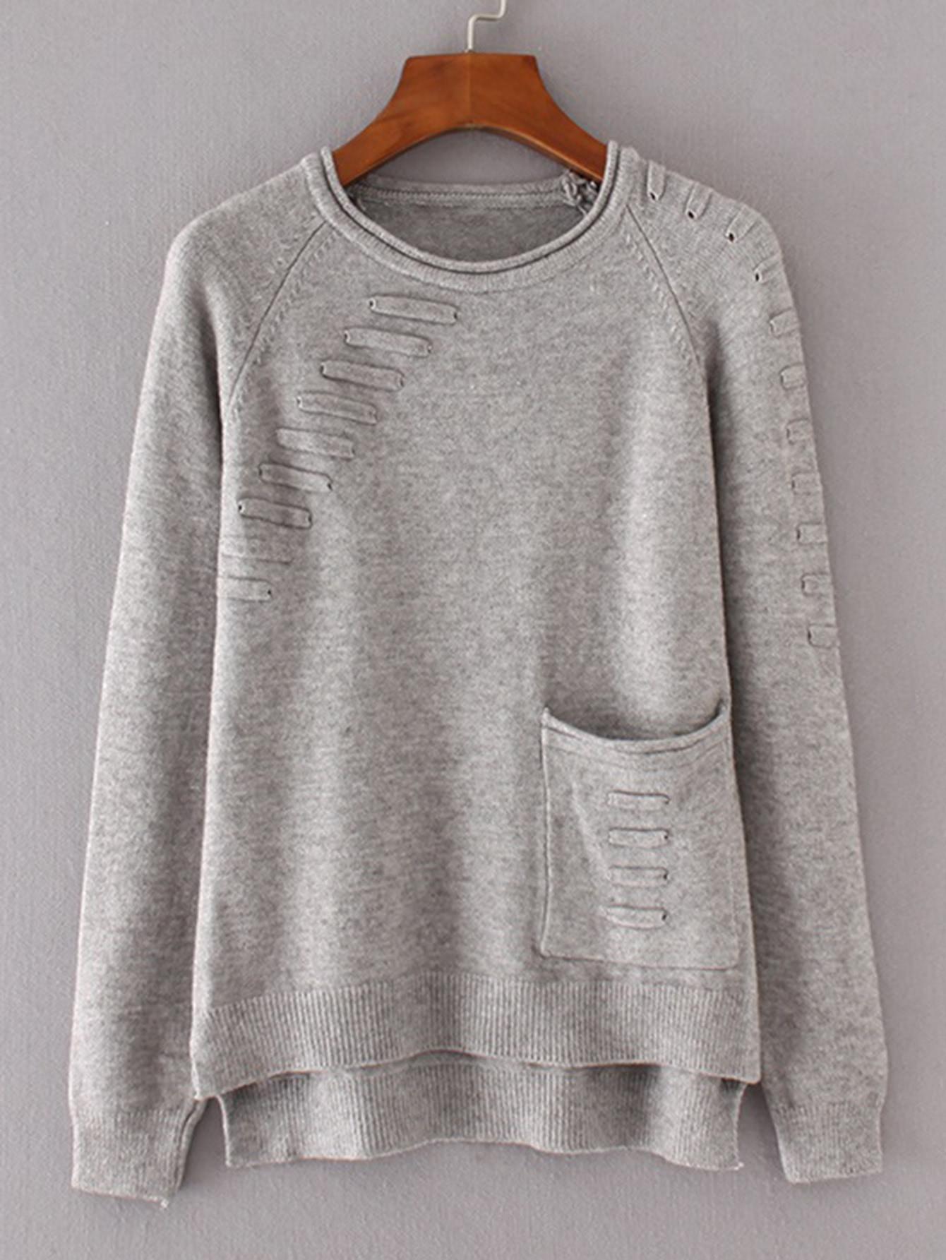 Front Pocket Raglan Sleeve High Low Knitwear