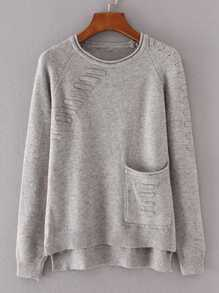 Front Pocket Raglan Sleeve High Low Knitwear
