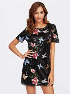 Botanical Embroidered Sequin Dress