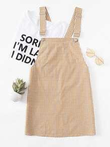 Detachable Strap Gingham Pinafore Dress