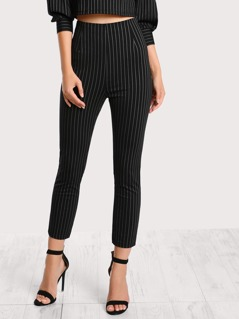 Pinstripe Mid Rise Pants BLACK