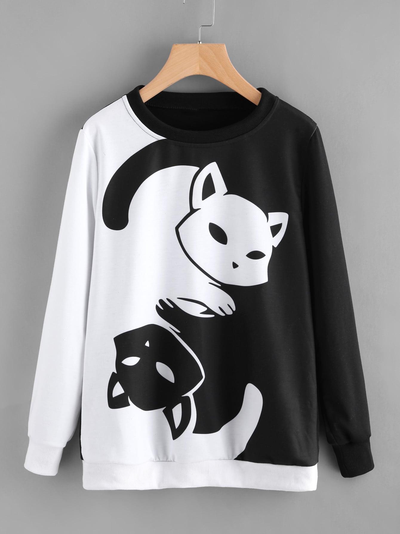 Contrast Cat Print Pullover sweatsh171003354