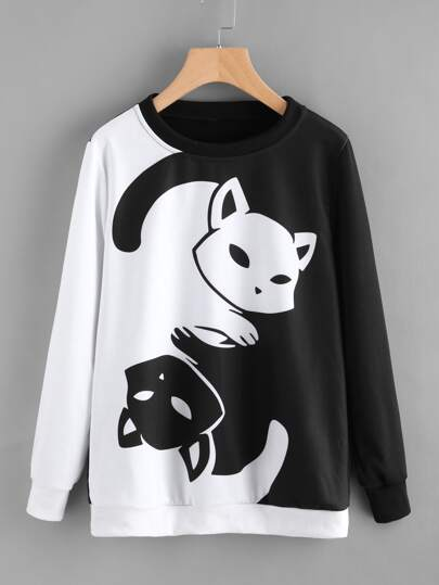 Contrast Cat Print Pullover