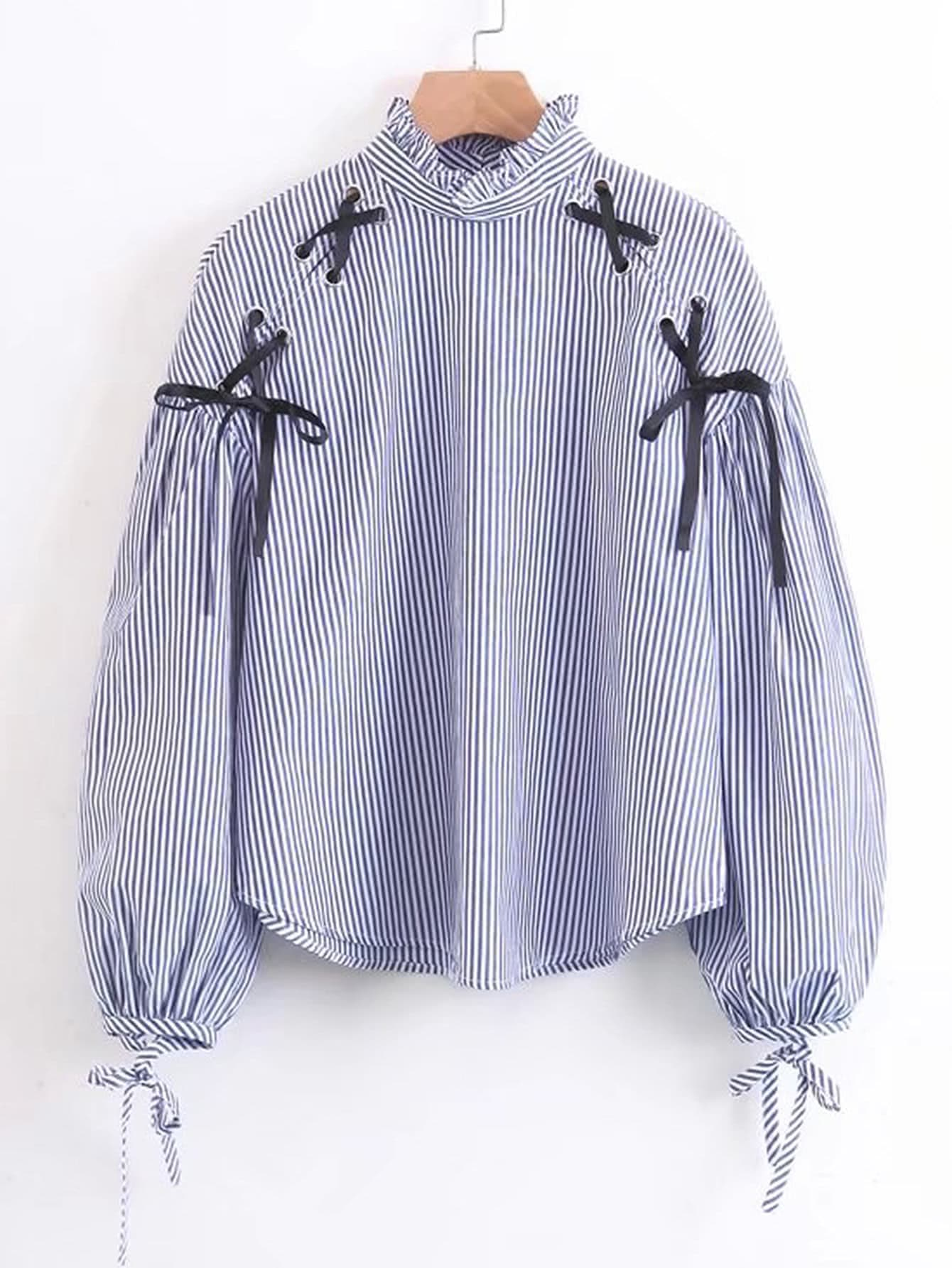 Contrast Lace Up Frill Neck Striped Blouse blouse170901201
