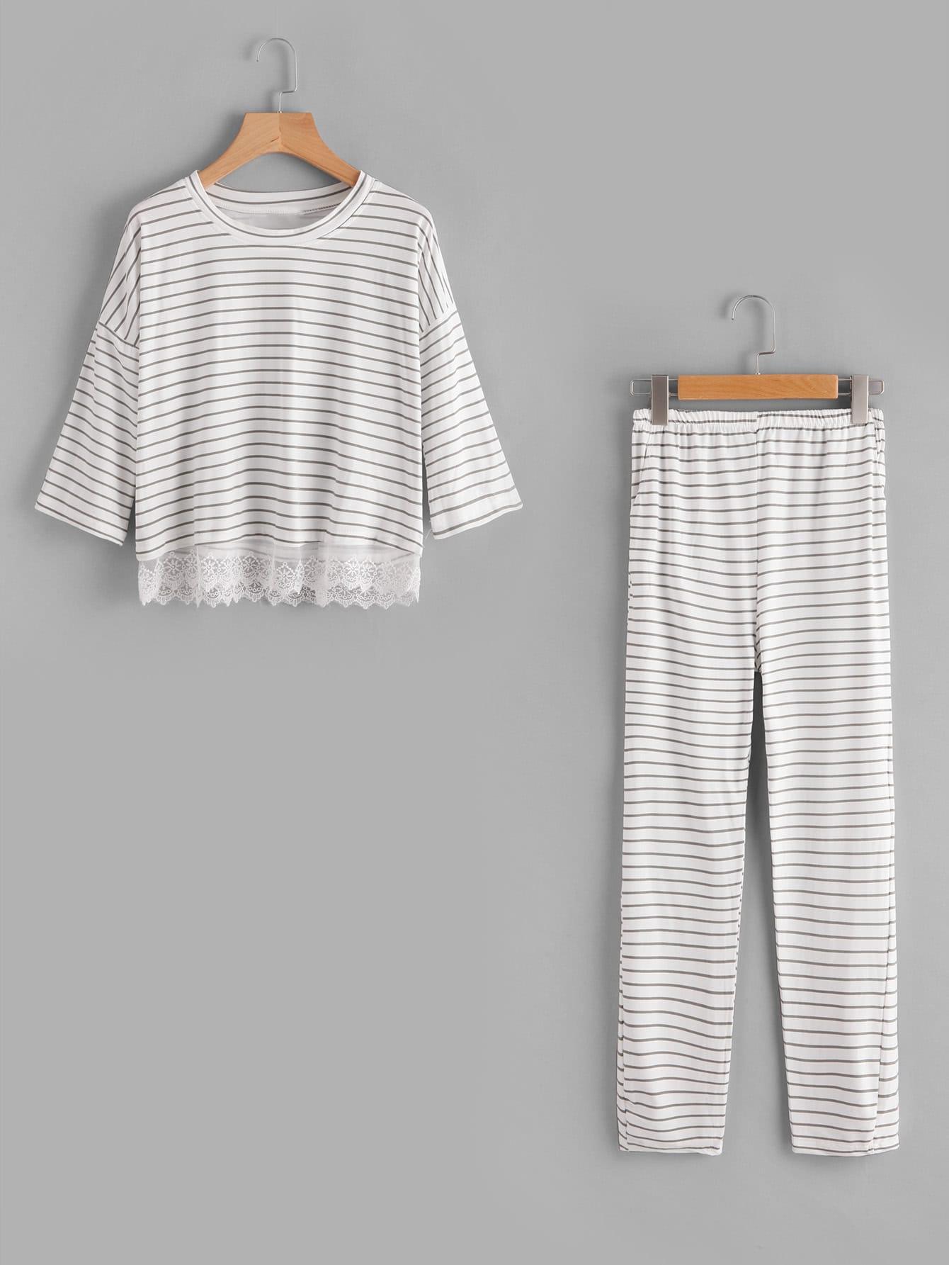 Купить Модная пижама в полоску с кружевной вставкой, null, SheIn