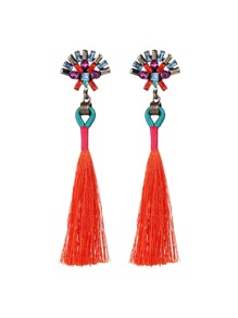 Tassel Drop Earrings With Rhinestone