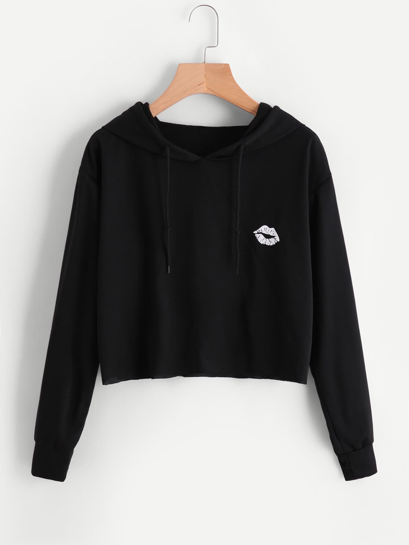 Cute Print Raw Hem Crop Hoodie varsity print raw hem hoodie