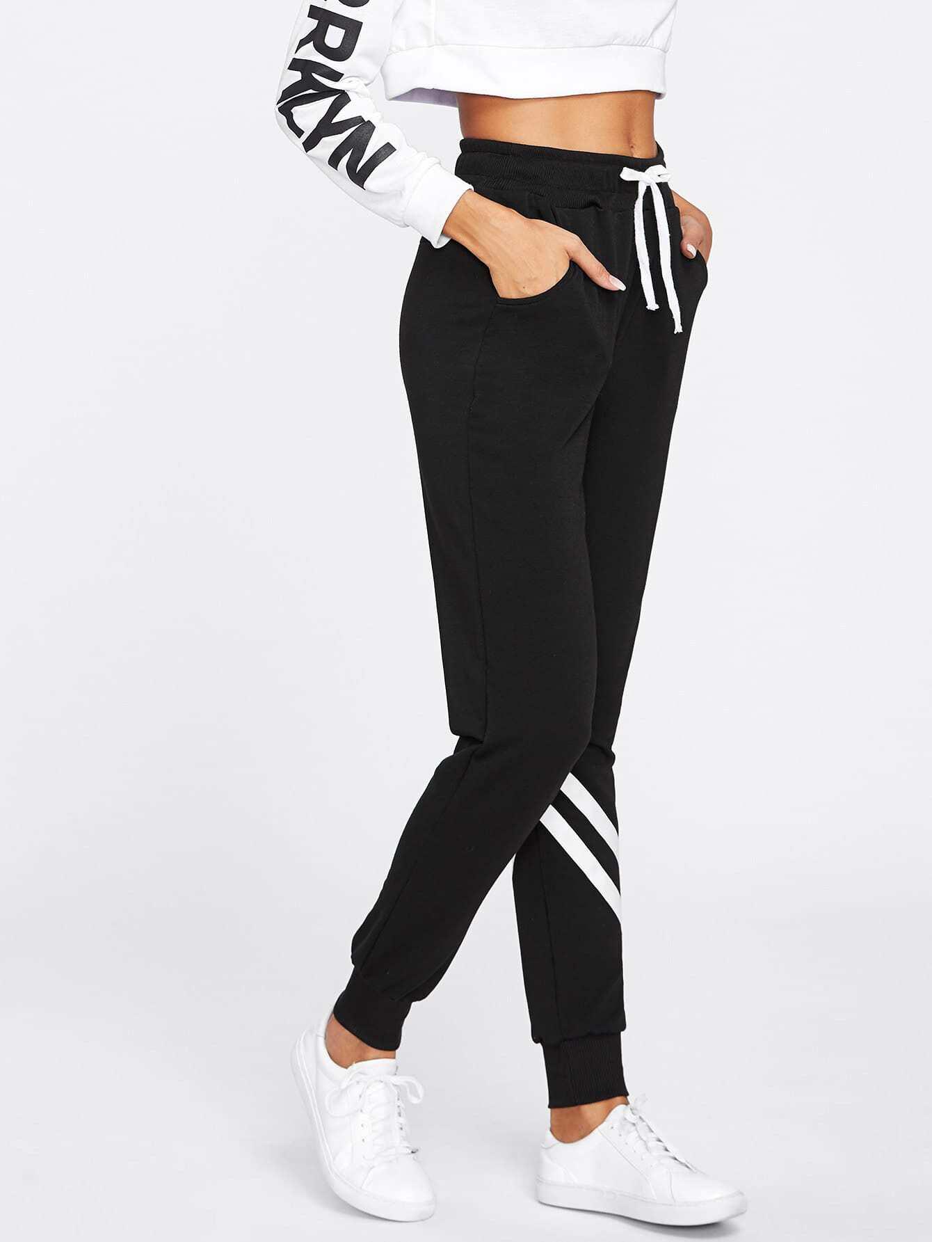 Drawstring Waist Striped Trim Sweatpants