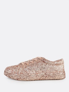 Glitter Reflective Lace Up Sneakers ROSE GOLD