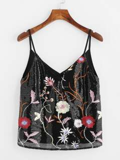 Sequin Embroidered Dual V Neck Cami Top