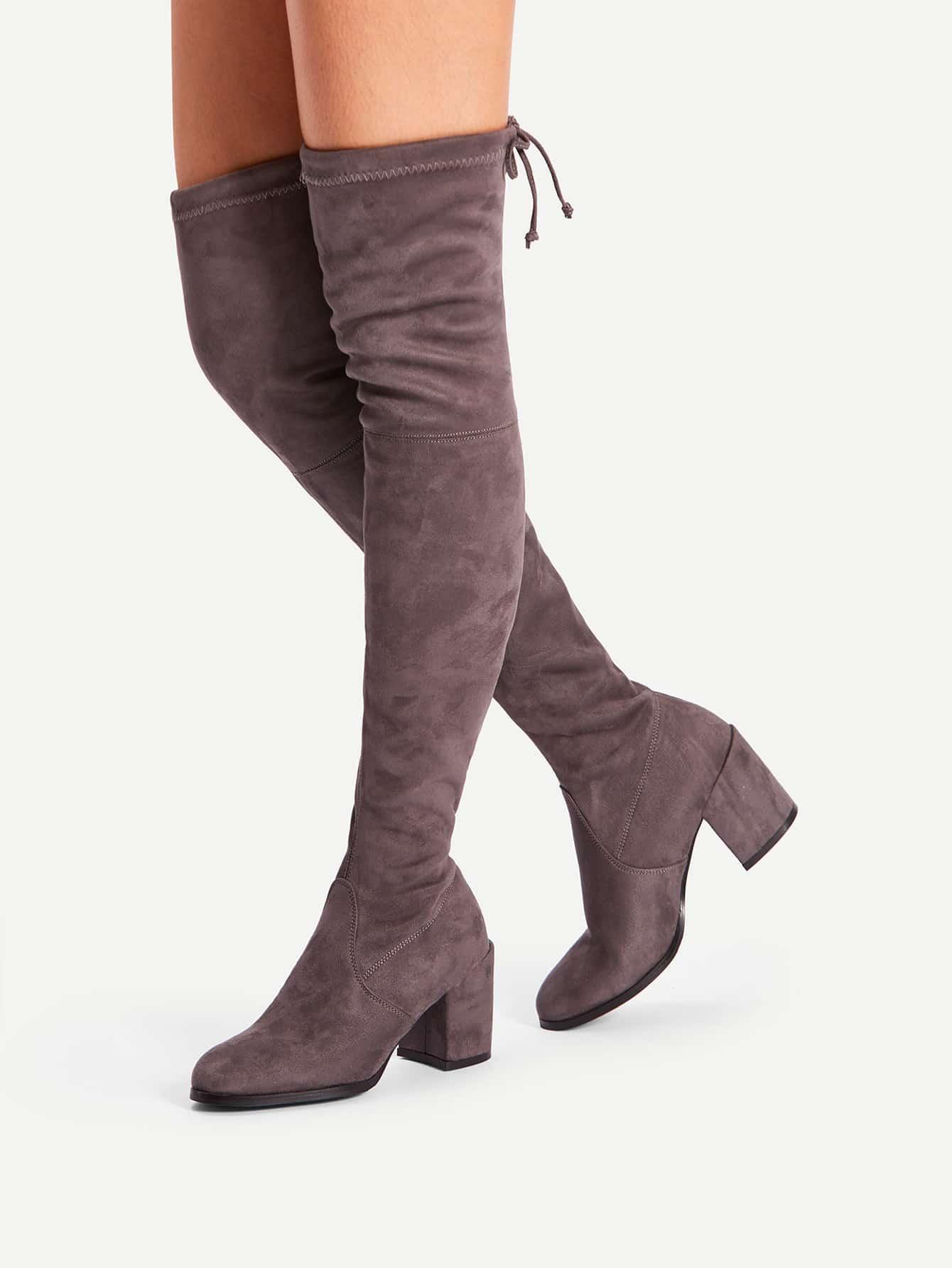 Tie Back Over Knee Block Heeled Boots peter block stewardship choosing service over self interest